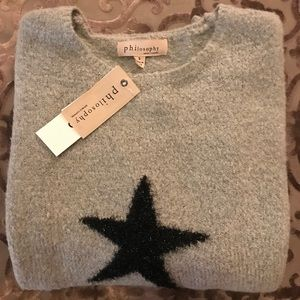 GRAY WITH BLACK STARS PHILOSOPHY SWEATER.